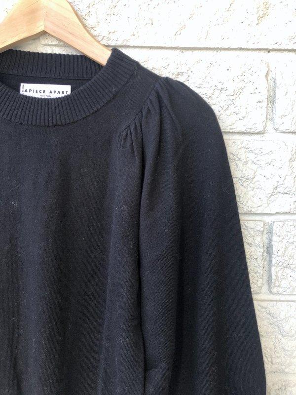 Apiece Apart DEWI PUFF SLEEVE NECK SWEATER - BLACK