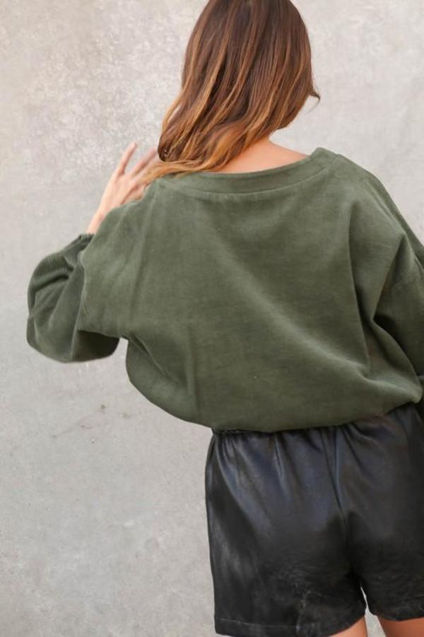Lumiere Corduroy Top - olive