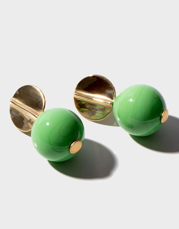 Modern Weaving Blown Glass Globe Earrings - Pea Green
