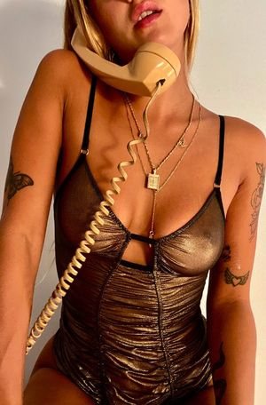Only Hearts Mermaid Mesh Pinup Bodysuit - Gold