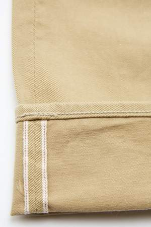 Pure Blue Japan 1150 Men's Woven 12oz Selvedge Twill Relaxed Tapered with One Wash Chino - Beige
