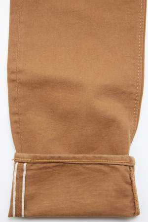 Pure Blue Japan 1150 Men's Woven 12oz Selvedge Twill Relaxed Tapered with One Wash Chino - Camel