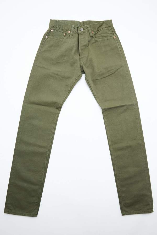 Pure Blue Japan 1150 Men's Woven 12oz Selvedge Twill Relaxed Tapered with One Wash Chino - Olive