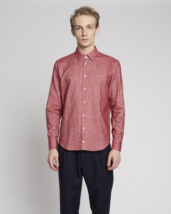 Delikatessen Feel Good Italian Finest Brushed Cotton Flannel Shirt - Red