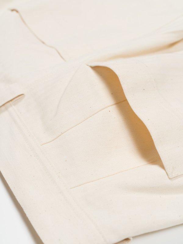 archie Standard Cotton Herringbone Pant - Natural