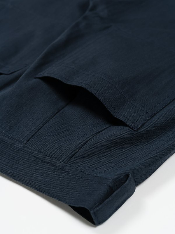 archie Standard Sulfer-Dyed Cotton Herringbone Pant - Navy