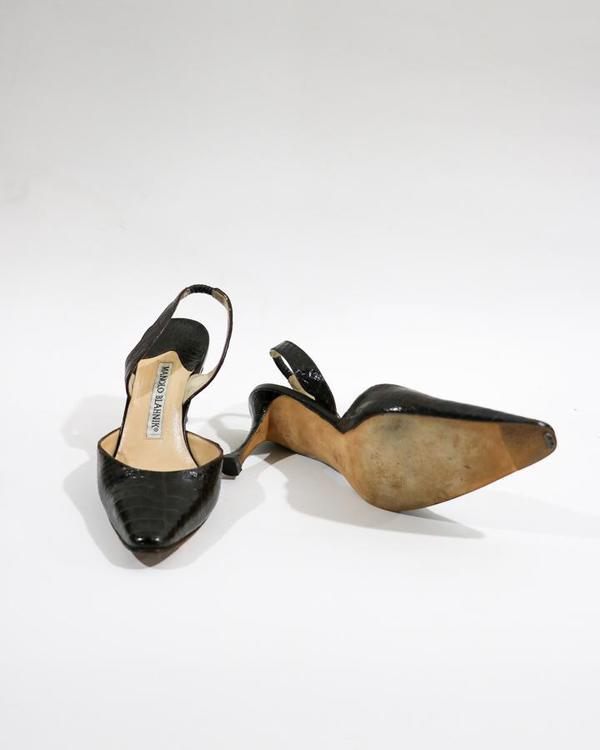 Manolo Blahnik Embossed Leather Slingback Pumps, Size 35.5