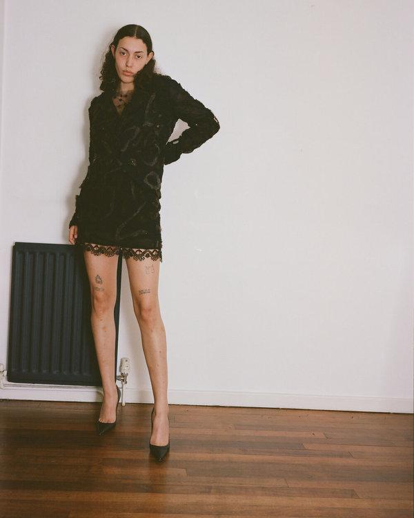 Sydney Pimbley Needle Felted Power Suit Jacket - Black/Brown