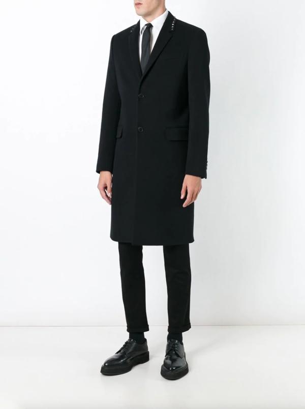 Valentino Rockstud Single Breasted Coat - black