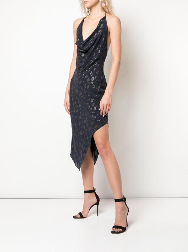 cushnie Asymmetric Cocktail Dress - Dark Blue