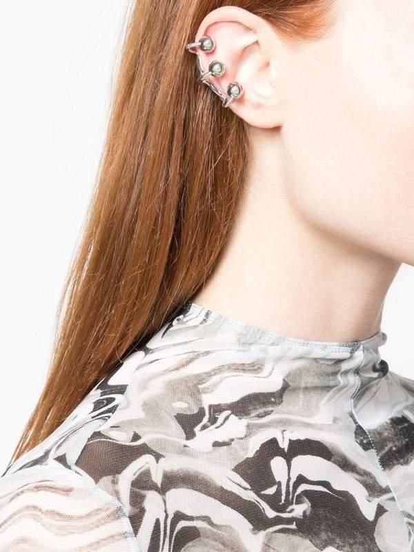 Mugler Ball Ear Cuff - silver