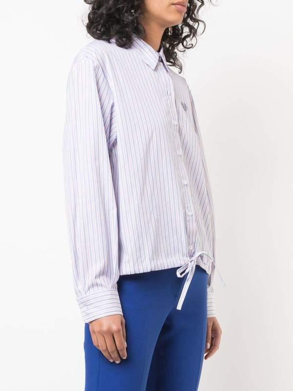 Boxy Drawstring Striped Shirt