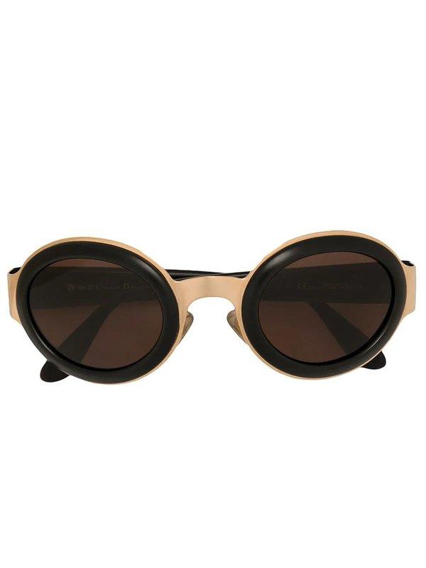 Vintage unisex Christian Dior Oval Frame Sunglasses - black