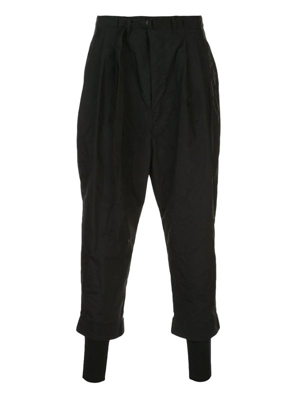 Crinkle Effect Cropped Trousers