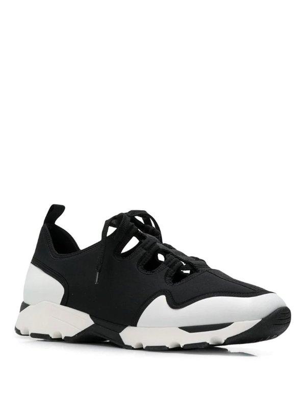 Marni Cut-Out Detail Sneakers - Black/White
