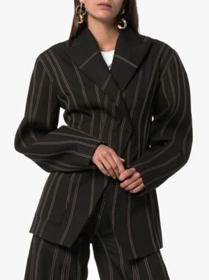 Exaggerated Waist Striped Blazer