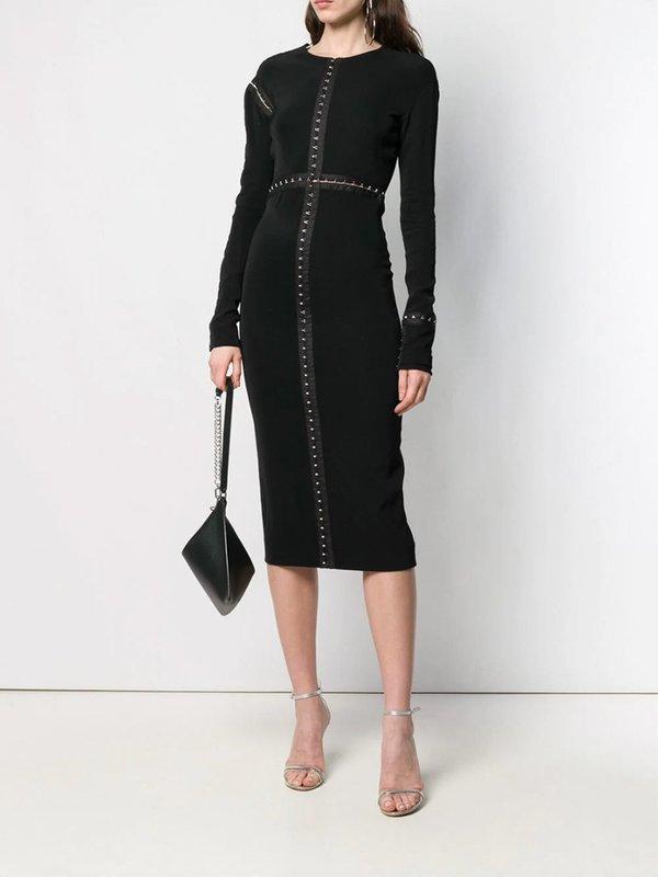 Mugler Eyelet Midi Dress - Black