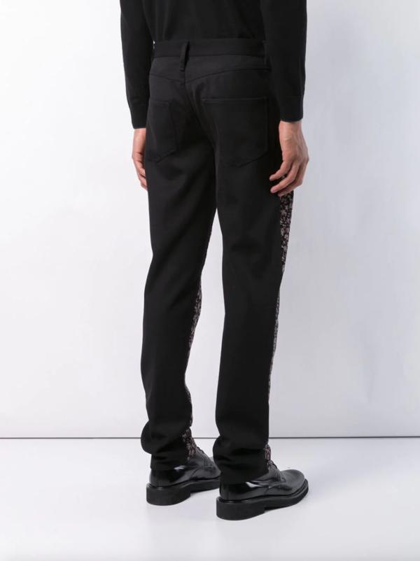 Five-Pocket Floral Print Trousers