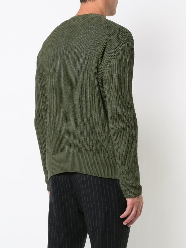 Khaki Green Loose Ribbed Cable Sweater