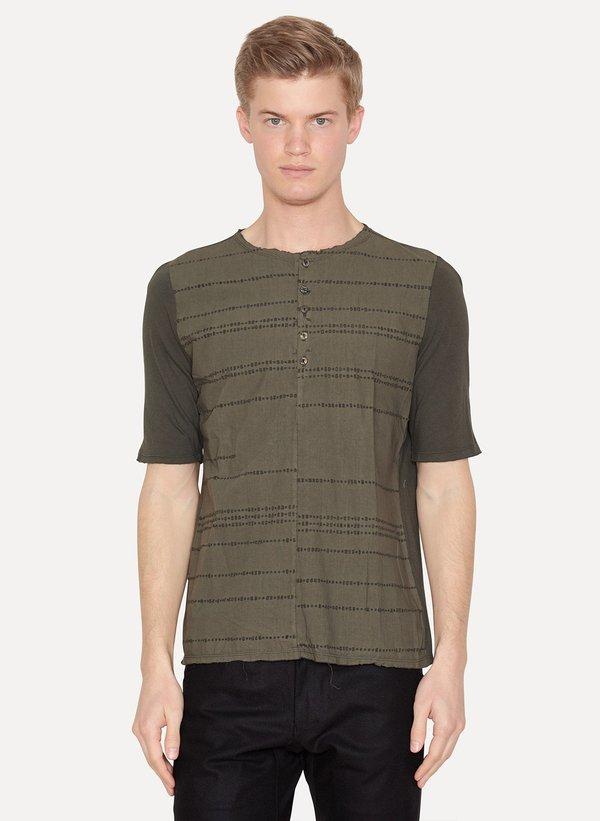 Laser Burned Green Henley Shirt