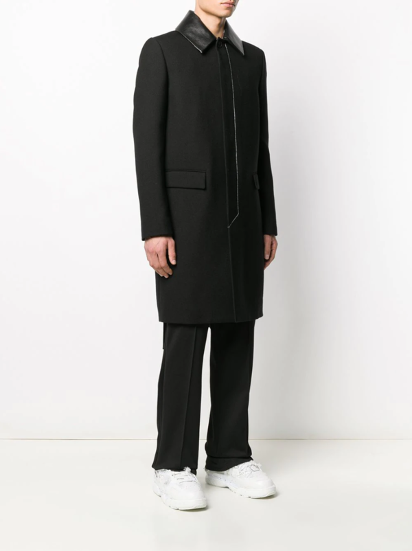 Valentino Leather Collar Single-Breasted Coat