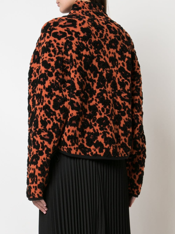 Leopard Jacquard Cropped Bomber