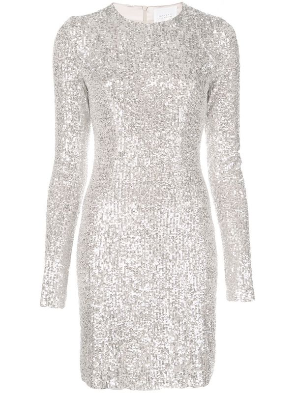 Long Sleeve Sequined Cocktail Dress