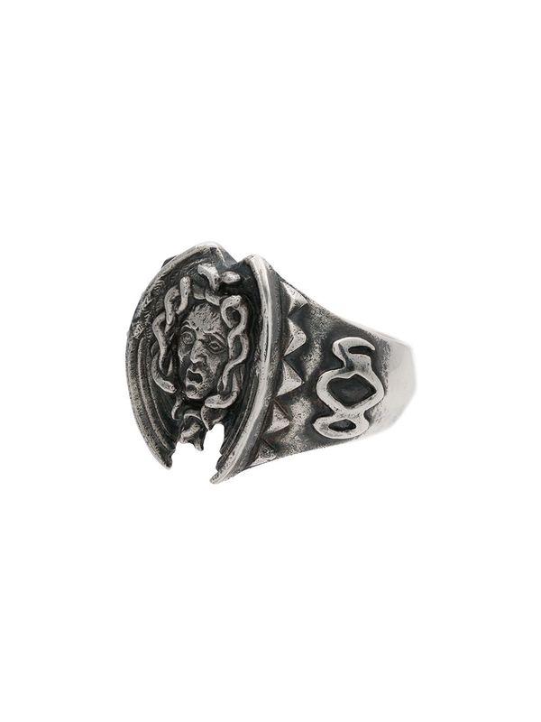 yohji Yamamoto Medusa Engraved Ring - Silver