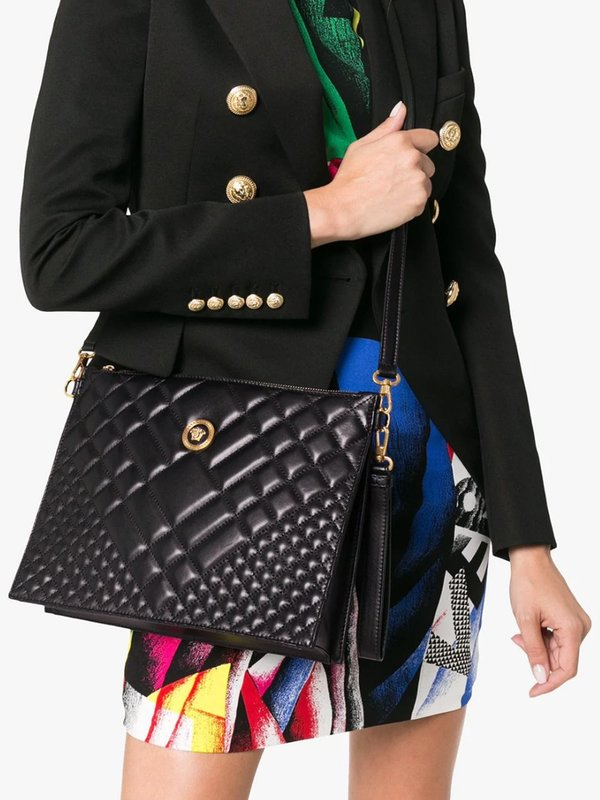 Medusa Quilted Leather Clutch Bag