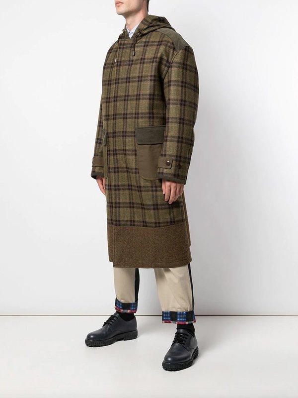 JUNYA WATANABE Plaid Hooded Coat - Khaki Green