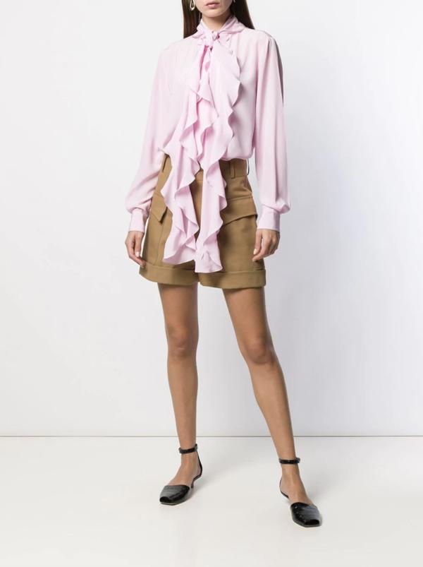 Victoria Beckham Pocket Detail High-Waisted Shorts - Camel