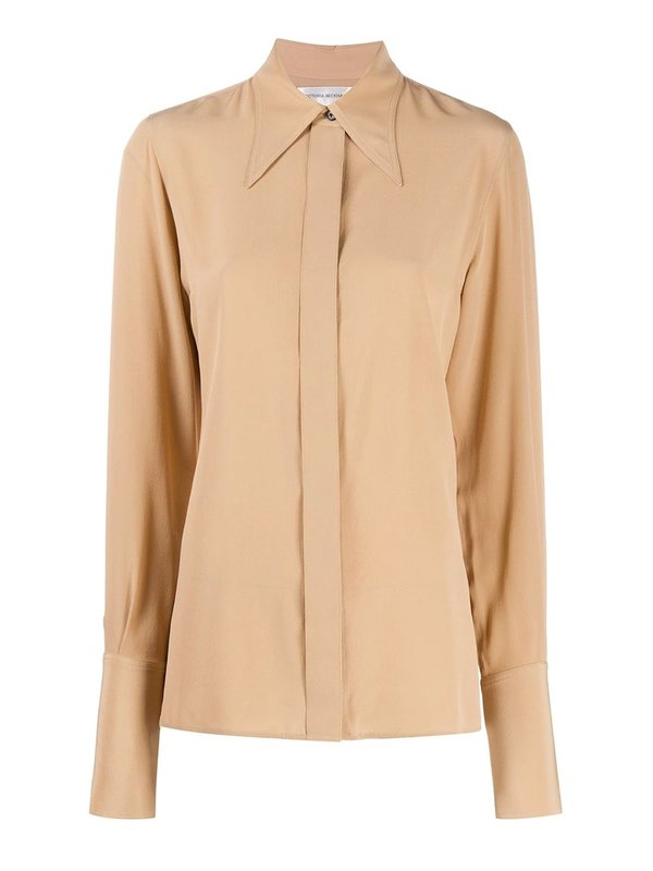 Pointed Collar Silk Shirt