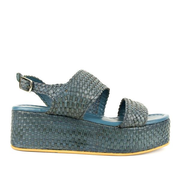 Azarey Woven Platform Sandal - Denim