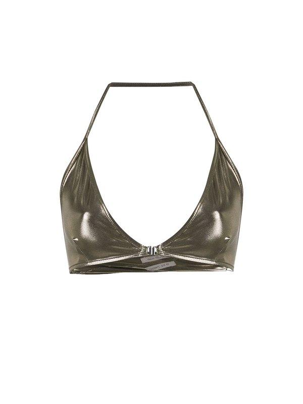 Rick Owens Tecuatl Knit Bronze Bra Top - bronze