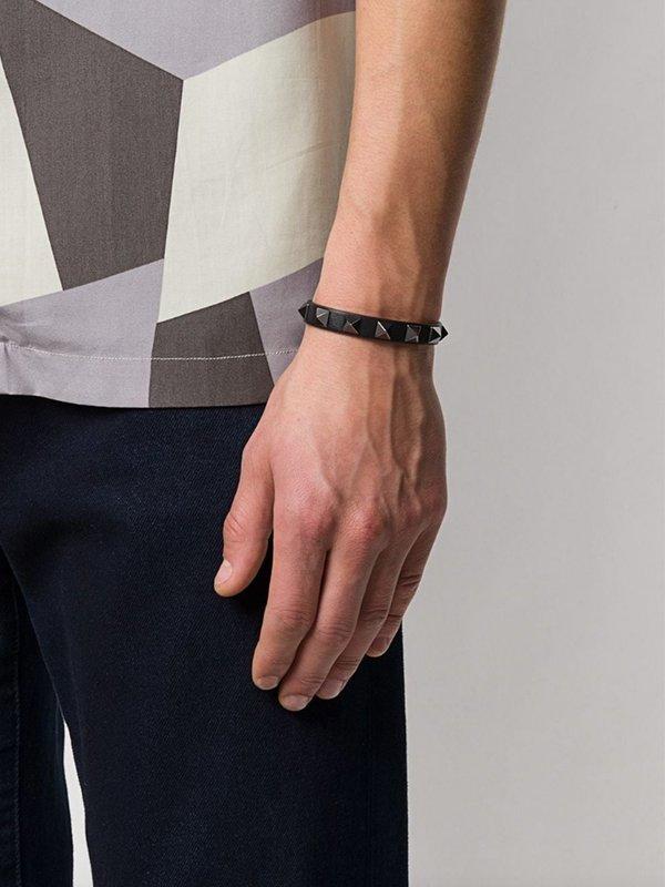 Valentino Garavani Rockstud-Embellished Bracelet - Black