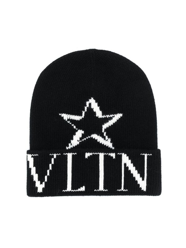 Valentino VLTN STAR Knitted Beanie - Black