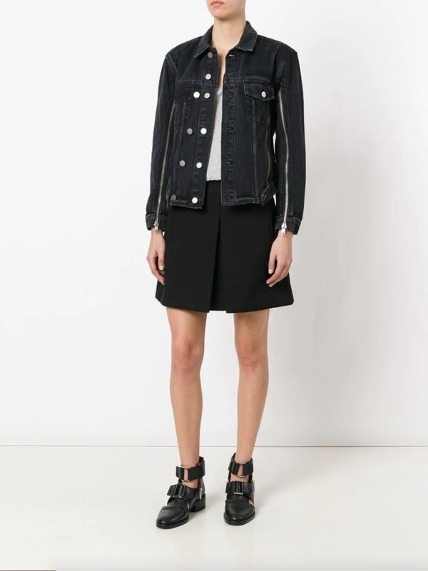 Zip Sleeve Denim Jacket Black