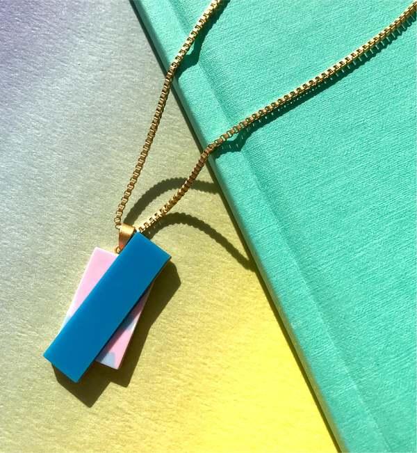 MATTER MATTERS Double Rec Necklace - Blue/Pink