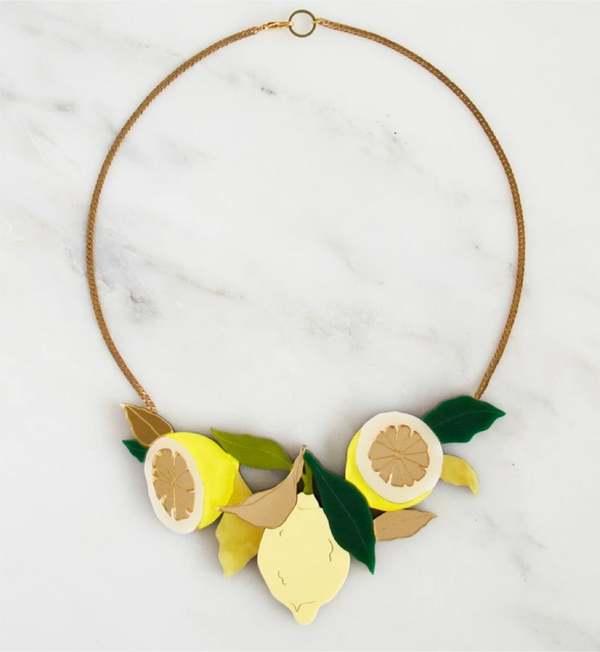 Wolf & Moon Lemon Grove Necklace - brass
