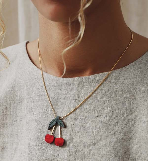 Wolf & Moon Cherry Necklace - Red