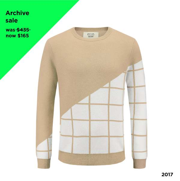 UNISEX MATTER MATTERS Grids Crew Neck Wool and Cashmere Blend Pullover - BEIGE
