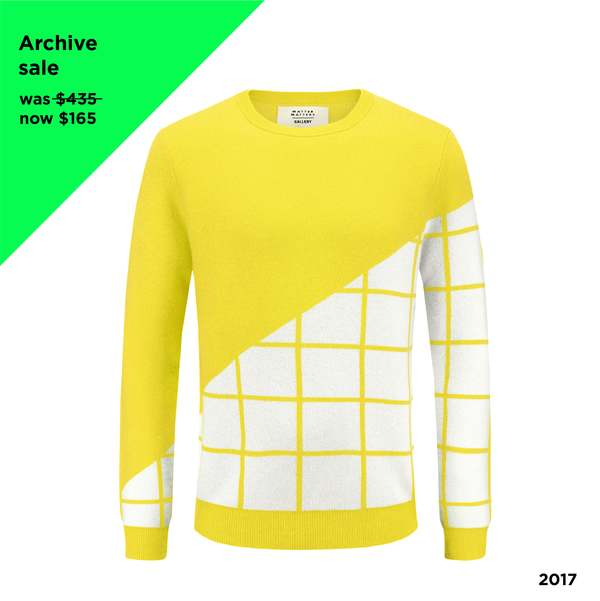 MATTER MATTERS Grids Crew Neck Wool and Cashmere-Blend Pullover - YELLOW