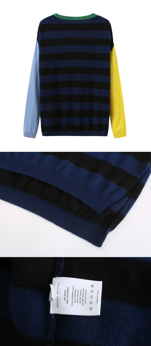 UNISEX MATTER MATTERS Crew Neck Intarsia Wool and Cashmere Blend Sweater - Black/Navy