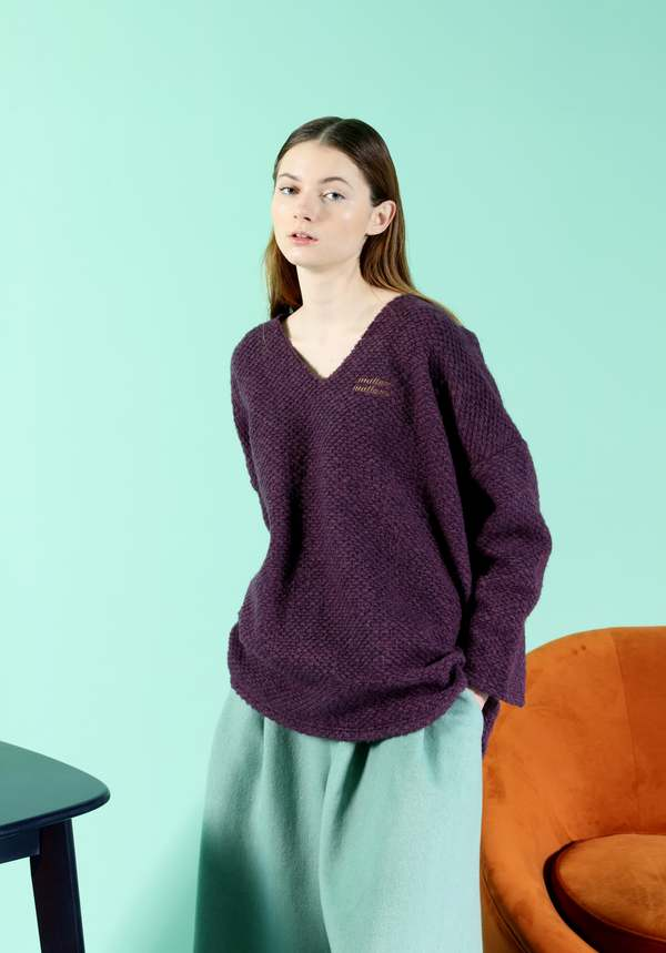 MATTER MATTERS V Neck Wool -Blend Oversized knitted sweater - Purple