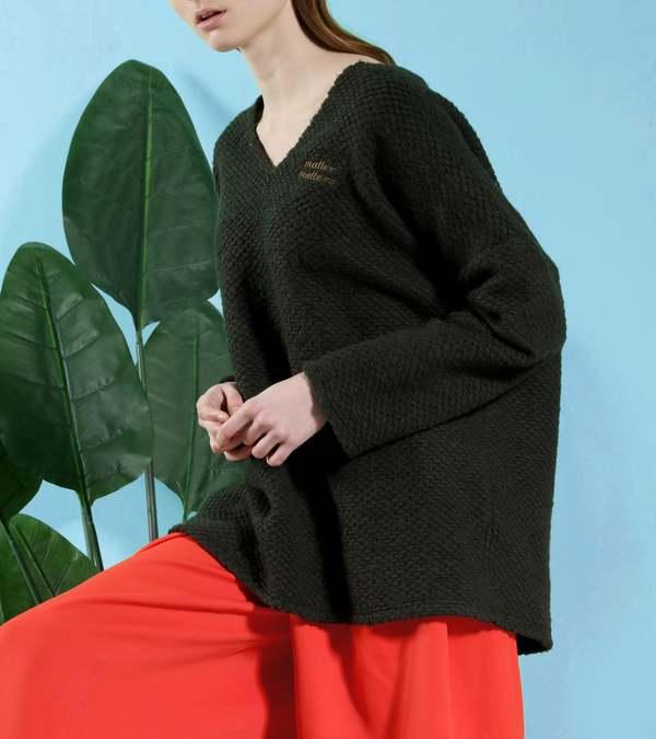 MATTER MATTERS V Neck Wool -Blend Oversized knitted sweater - Dark Green