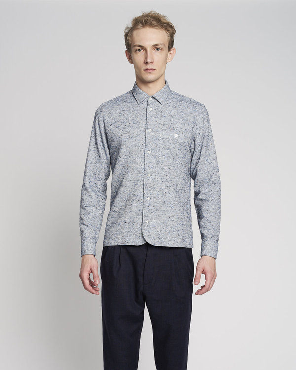 Delikatessen AW 20/21 Strong Fine Mix of Portuguese Cotton, Wool and Silk Shirt - Soft Blue