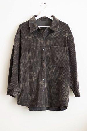 BRAND NAME Corduroy Tie Dye Top and Shorts Set - Grey