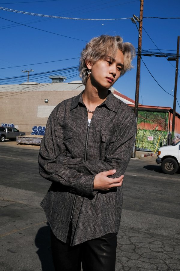 The Letters Glen Check Rayon Western Zip Shirt