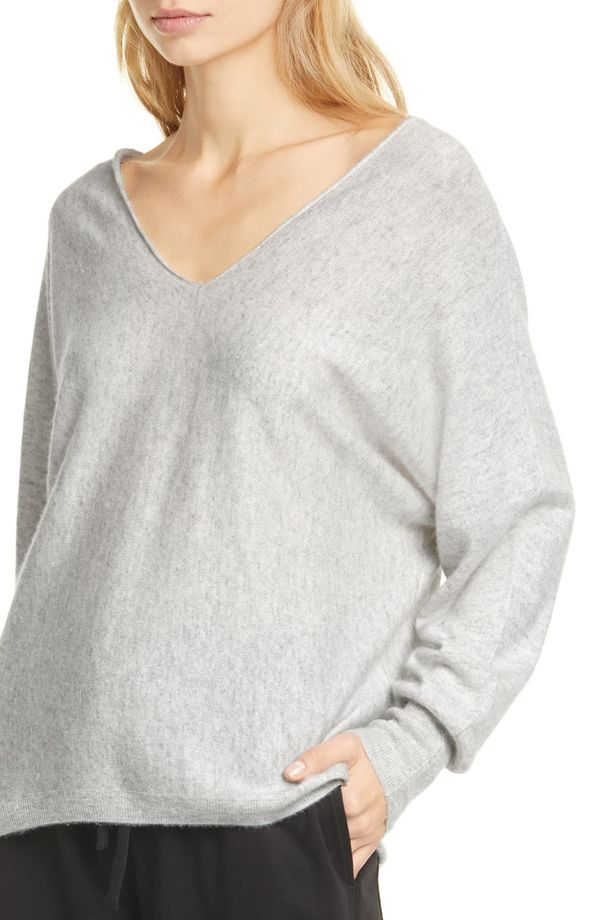 Vince Cashmere Linen Double V-Neck Pullover - Grey White