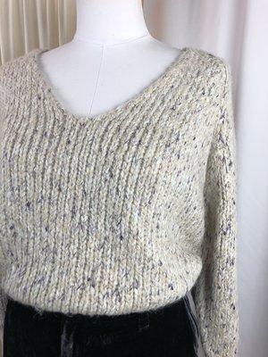 [Pre-loved] Lilla P. Chunky Knit V-Neck Sweater - Tan/Cream Multi
